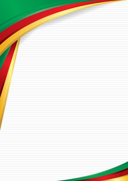 zusammenfassung hintergrund mit formen mit den farben der flagge von kamerun, als diplom oder zertifikat verwenden. format a4 - kamerun stock-grafiken, -clipart, -cartoons und -symbole