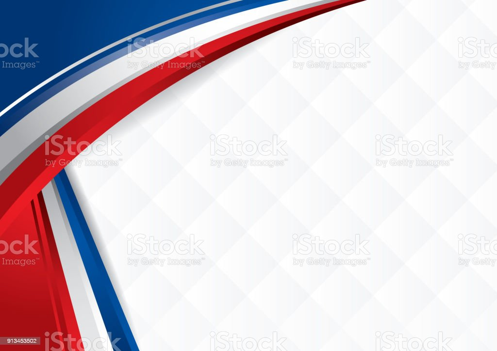 Abstract background with shapes with the colors of the flag of USA, Costa Rica, Chile, to use as Diploma or Certificate vector art illustration