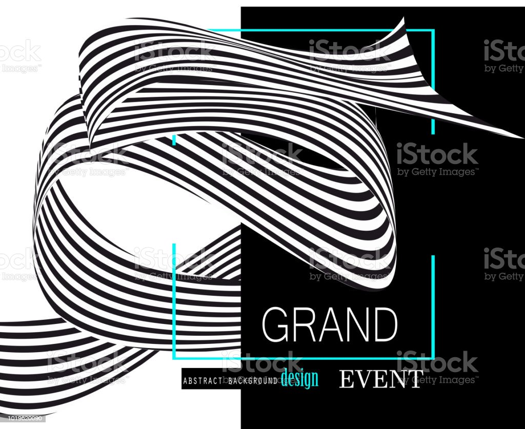 Abstract background with striped monochrome ribbon. Vector illustration vector art illustration
