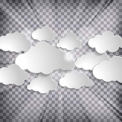 Abstract background with sun rays and clouds on a chequered back