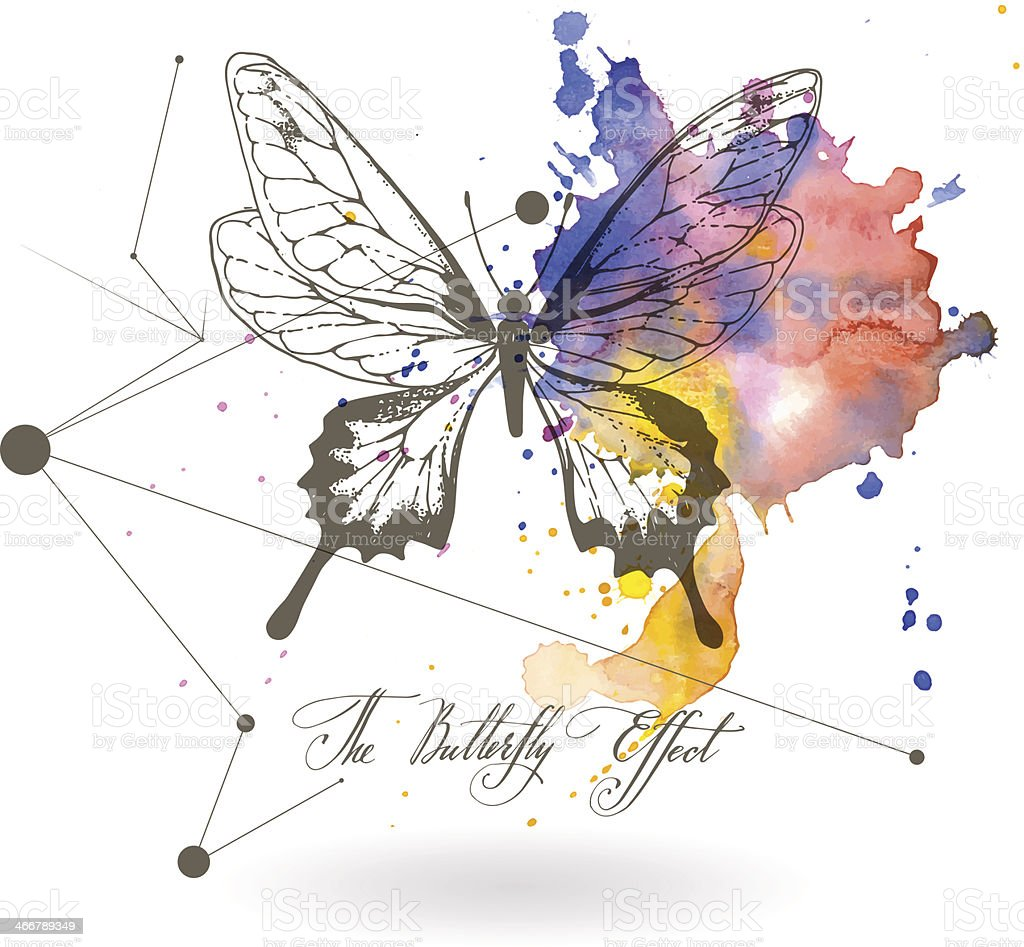 Abstract background with the image of a butterfly. vector art illustration