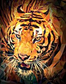 Abstract background with tiger head polygon.