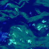 Abstract background with topographic landscape map and pixelated structure with textured moluntains and hills