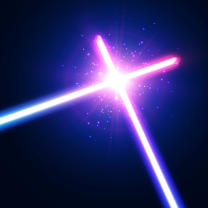 Abstract background with two crossed light neon lines with star, flash and particles. Colorful vector illustration.