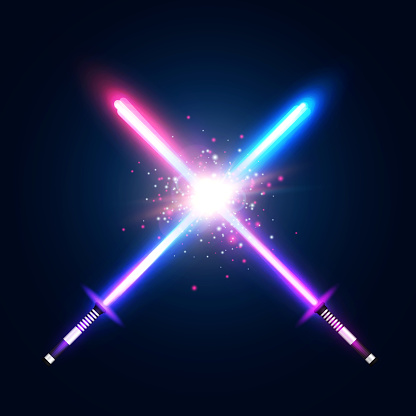Abstract background with two crossed light neon swords fight. Crossing laser sabers war. Club logo or emblem. Glowing rays in space. Battle with star, flash and particles. Colorful vector illustration