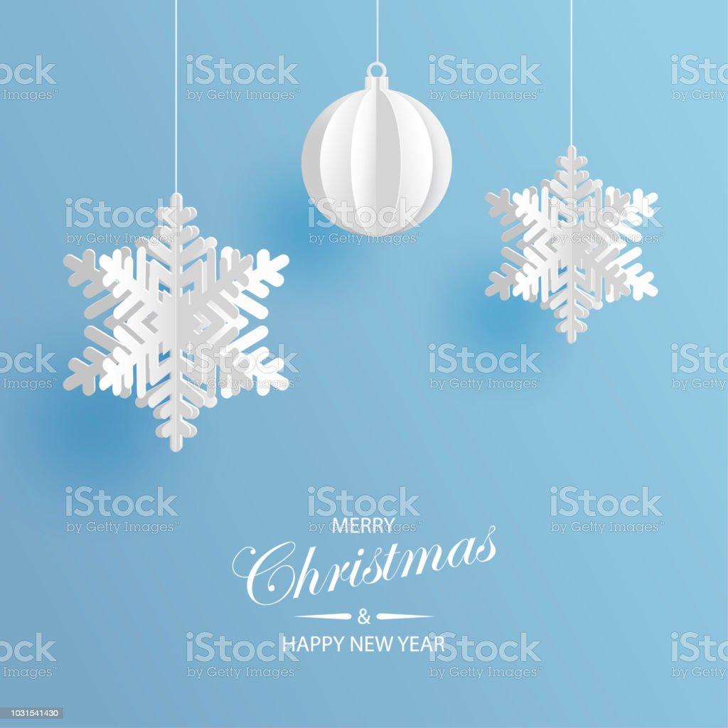 Fondo abstracto con copos de nieve de papel volumétrica y bola de la Navidad. Blancos copos de nieve 3D y decoraciones. Plantilla de tarjeta de Navidad y año nuevo. Invierno de papel arte diseño - ilustración de arte vectorial