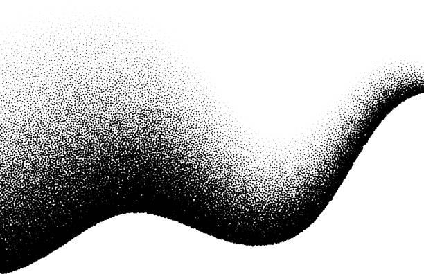 ilustrações, clipart, desenhos animados e ícones de fundo abstrato com onda de pontos dispersados - grain