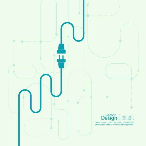 tło abstrakcyjne z wtyczki i gniazda drutu - przewód składnik elektryczny stock illustrations