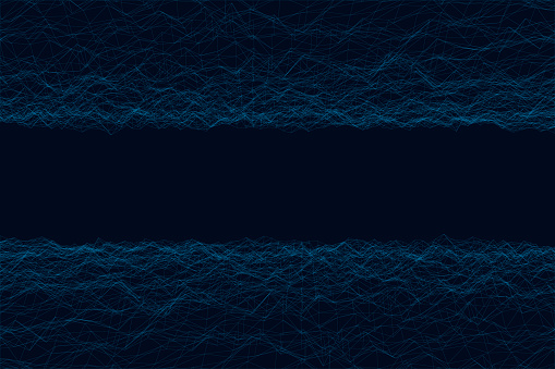 Abstract background with wireframe irregularities, noise from blue lines. Vector illustration