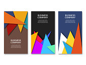 Vector illustration of a collection of abstract bacgrkounds with paper effects for business cards designs