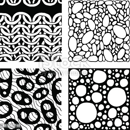 Abstract backgrounds set. Four geometrical backgrounds in black and white. Graphic design element for web sites, stationary printables, fabric, scrapbooking etc,