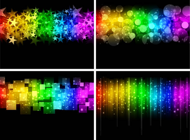 abstract backgrounds - rainbow glitter background stock illustrations, clip art, cartoons, & icons