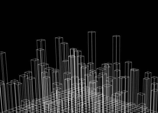 抽象的な背景 - 都市 モノクロ点のイラスト素材/クリップアート素材/マンガ素材/アイコン素材