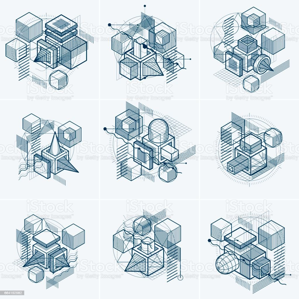 Abstract backgrounds with isometric elements, vector linear art with lines and shapes. Cubes, hexagons, squares, rectangles and different abstract elements. Vector set. abstract backgrounds with isometric elements vector linear art with lines and shapes cubes hexagons squares rectangles and different abstract elements vector set - immagini vettoriali stock e altre immagini di affari finanza e industria royalty-free