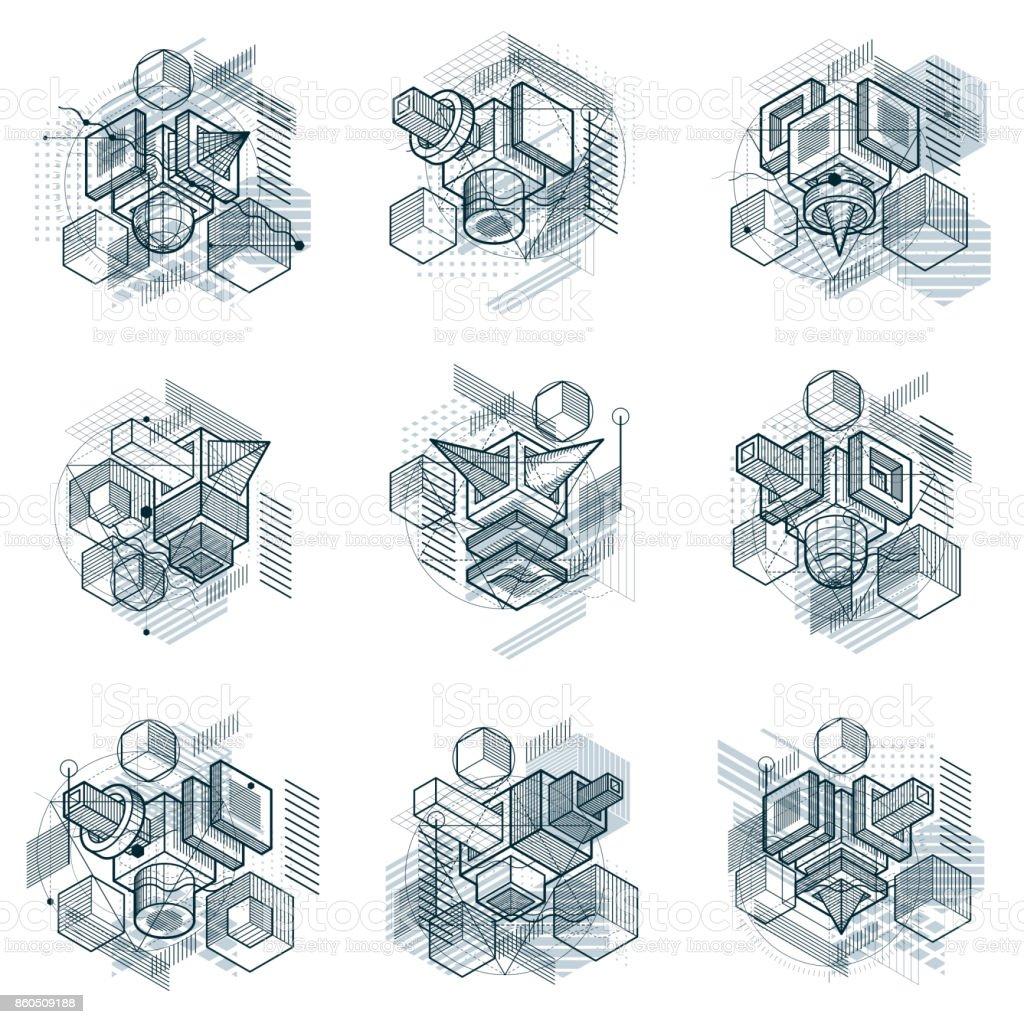 Resumen de antecedentes con elementos isométricos, vector arte lineal con líneas y formas. Cubos, hexágonos, cuadrados, rectángulos y diferentes elementos abstractos. Conjunto de vectores. - ilustración de arte vectorial