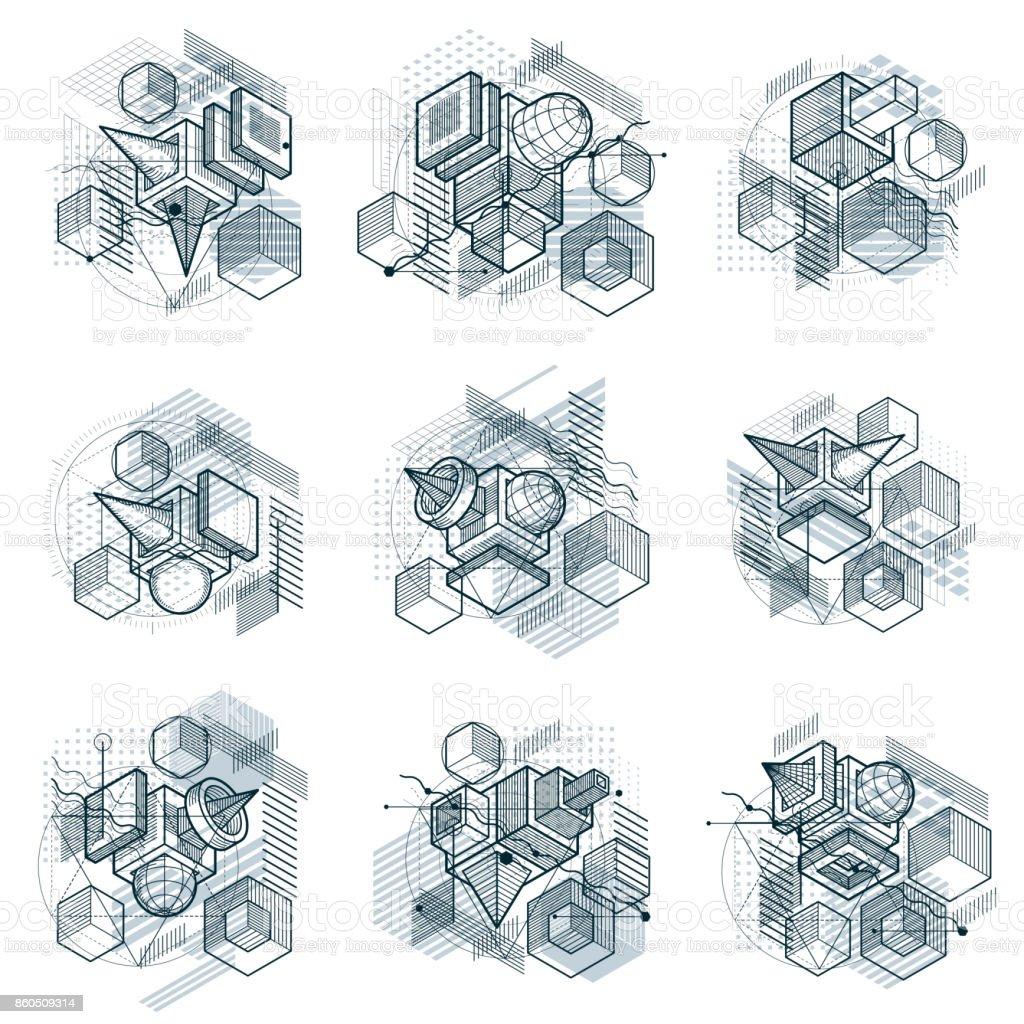 Resumen de antecedentes con líneas isométricas, vector ilustraciones. Plantillas hechas con cubos, hexágonos, cuadrados, rectángulos y diferentes elementos abstractos. Conjunto de vectores. - ilustración de arte vectorial