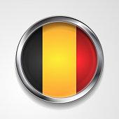 Abstract vector badge button with metallic frame. Belgian flag