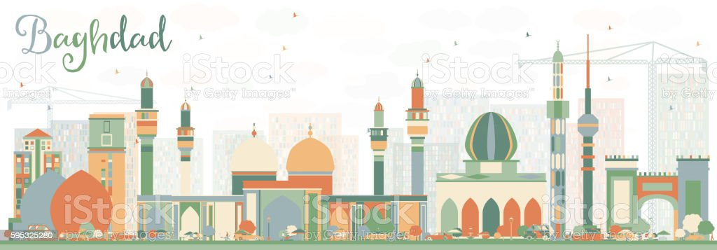 Abstract Baghdad Skyline with Color Buildings. vector art illustration