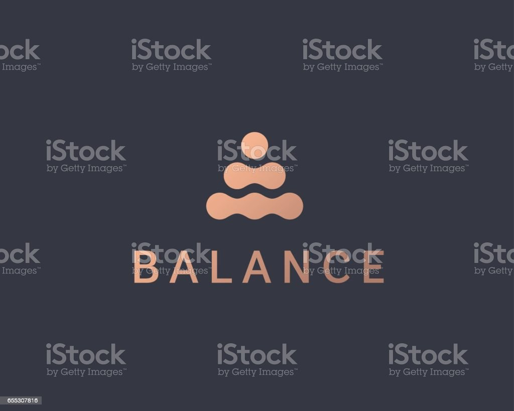 Abstract balance vector logo design template. Spa harmony minimal logotype. royalty-free abstract balance vector logo design template spa harmony minimal logotype stock illustration - download image now