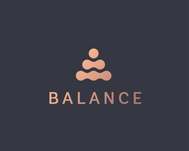 추상 균형 벡터 로고 디자인 서식 파일입니다. 스파 하모니 최소한의 로고 - 부처 불교 stock illustrations