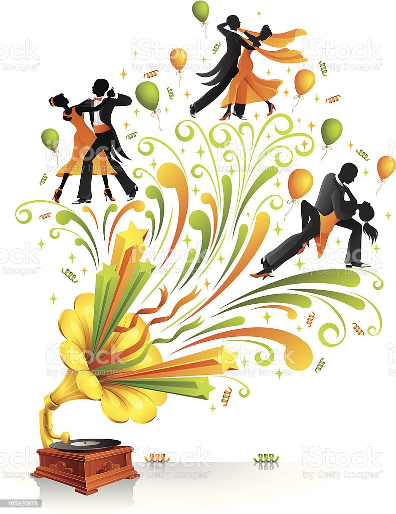 Abstract Ballroom Dancers Design vector art illustration