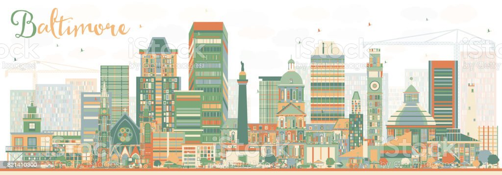 Abstract Baltimore Skyline with Color Buildings. vector art illustration