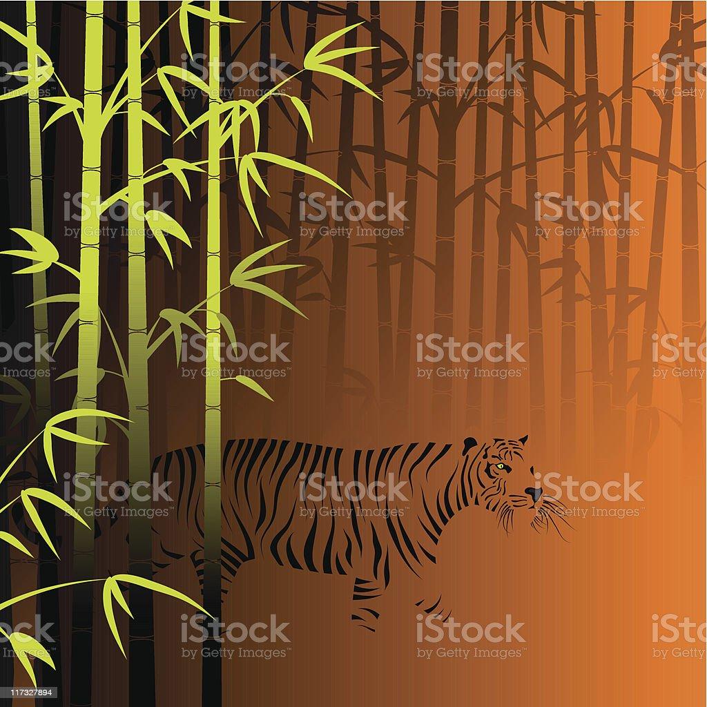 Abstract bamboo invisible tiger vector art illustration