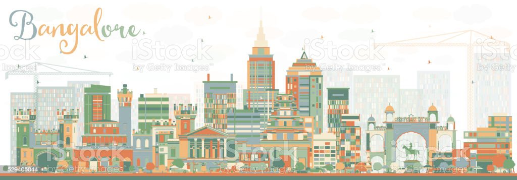 Abstract Bangalore Skyline with Color Buildings. vector art illustration