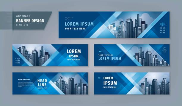 ilustrações, clipart, desenhos animados e ícones de molde abstrato do web do projeto da bandeira ajustado, bandeira horizontal do web do encabeçamento - templates