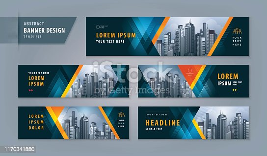 Abstract banner design web template Set, Horizontal header web banner. Modern Geometric Triangle cover header background for website design, Social Media Cover ads banner, flyer, presentations, invitation card