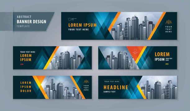 abstract banner design web template set, horizontal header web banner - banner ads templates stock illustrations