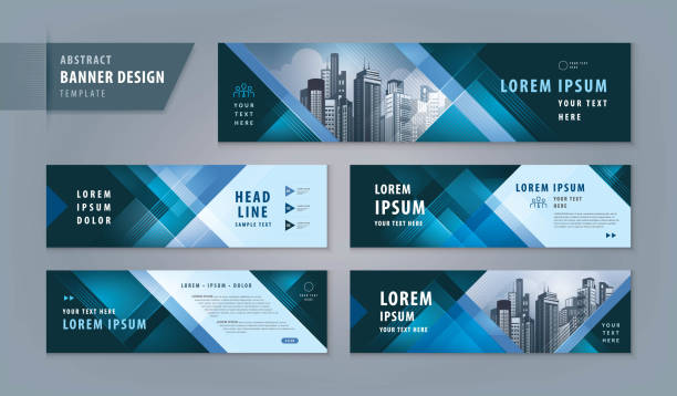 abstract banner design web template set, horizontal header web banner - invitations templates stock illustrations