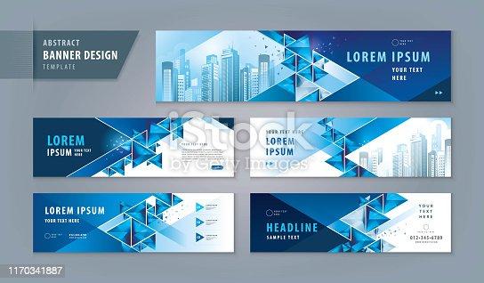 Abstract banner design web template Set, Horizontal header web banner. Modern Geometric Triangle cover header background for website design, Social Media Cover ads banner, flyer, presentations, invitation card