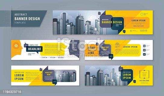 Abstract banner design web template Set, Horizontal header web banner. Modern cover header for website design, Social Media Cover ads banner, flyer, social networks, talk bubbles, Speech Bubbles vector, exhibition display.