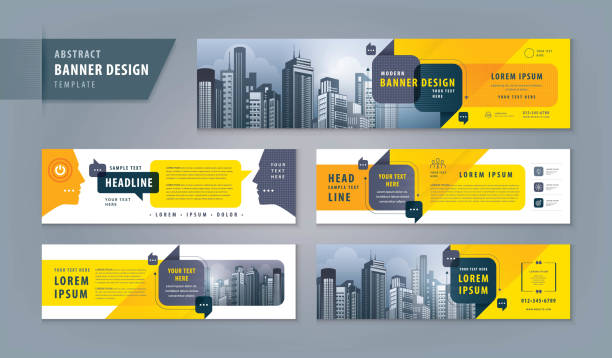 Abstract banner design web template Set, Horizontal header web banner. Modern cover header Abstract banner design web template Set, Horizontal header web banner. Modern cover header for website design, Social Media Cover ads banner, flyer, social networks, talk bubbles, Speech Bubbles vector, exhibition display. banner ads templates stock illustrations