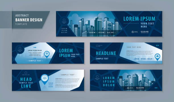 Abstract banner design web template Set, Horizontal header web banner Abstract banner design web template Set, Horizontal header web banner. Modern Geometric Road map cover header background for website design, Social Media Cover ads banner, location, pin, pointer, timeline flyers templates stock illustrations