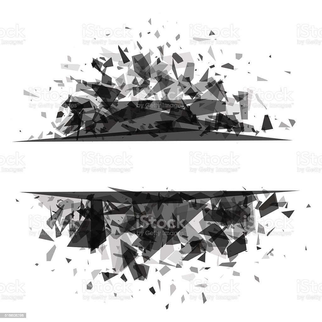 Abstract banner explosion cloud shards on white background