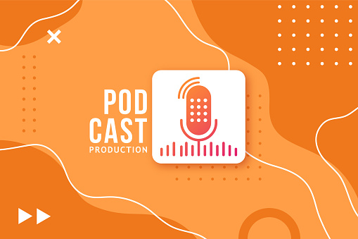 Abstract banner for a podcast. Studio microphone button on a bright orange background in memphis style. Vector design template.