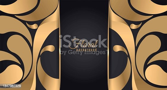 istock Abstract banner gold web header waves vector in gold colors. 1347982329
