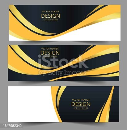 istock Abstract banner gold web header waves vector in gold colors. 1347982342