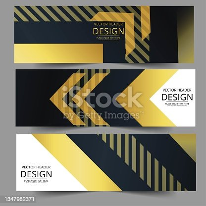 istock Abstract banner gold web header waves vector in gold colors. 1347982371