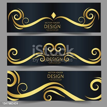 istock Abstract banner gold web header waves vector in gold colors. 1347982424