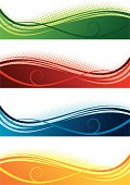 Vector ilustration of abstract banner in four colours. Each object  grouped and only simple gradients used.