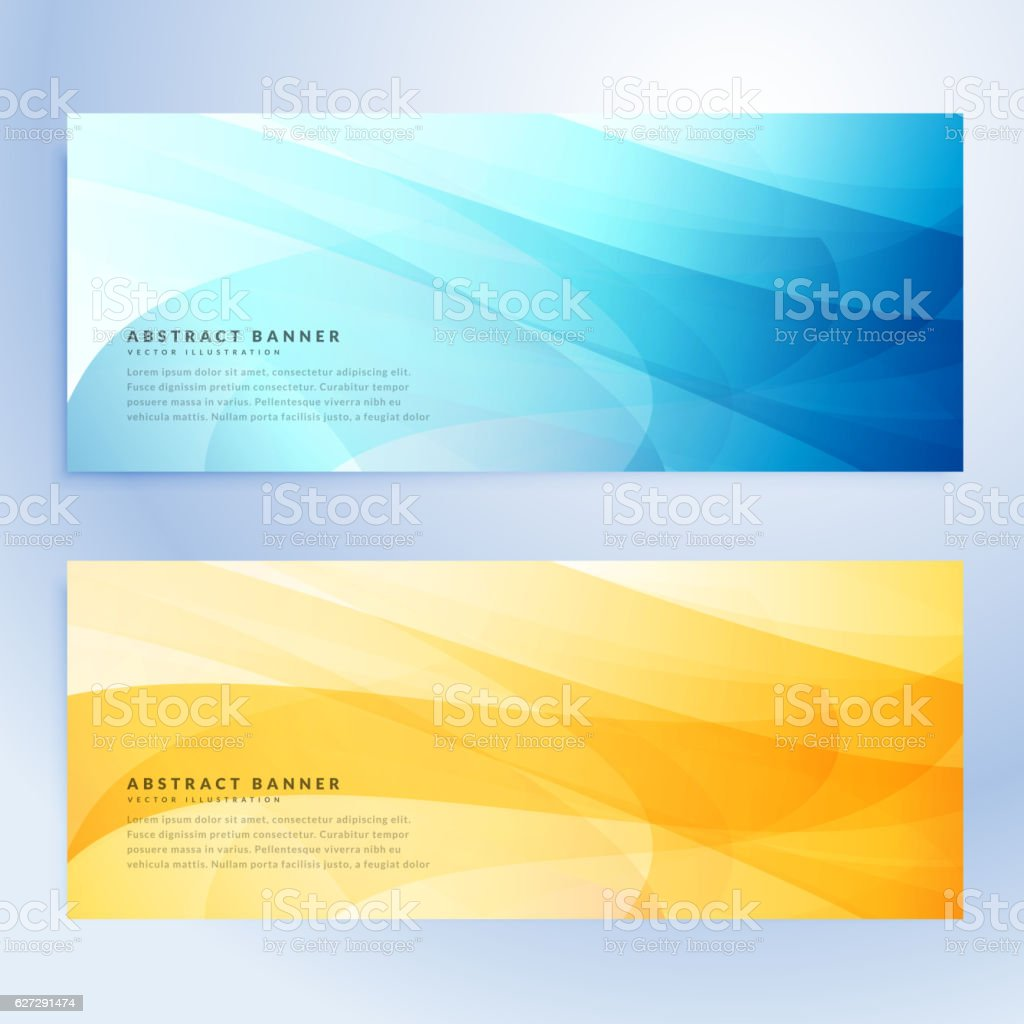 abstract banners set in blue and yellow color vector art illustration