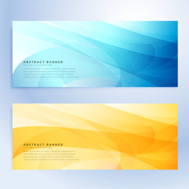 abstract banners set in blue and yellow color - abstract backgrounds stock illustrations, clip art, cartoons, & icons