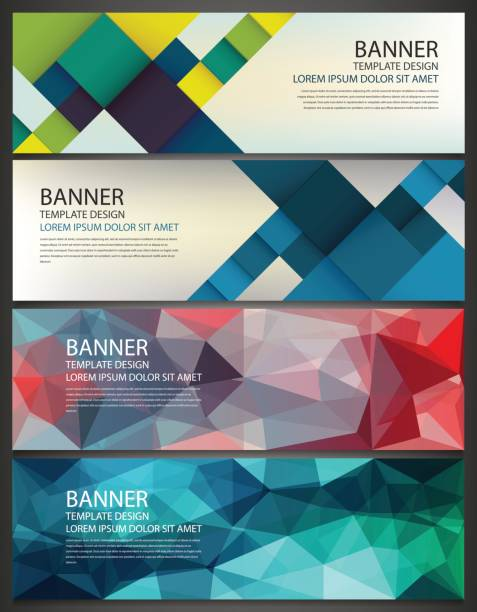 Abstract Banners set. Polygonal geometric and colorful squares. Vector vector art illustration