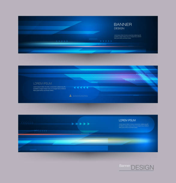 abstract banners set with image of speed movement pattern and motion blur. vector background for web banner template or brochure - rozmazanie ruchu stock illustrations