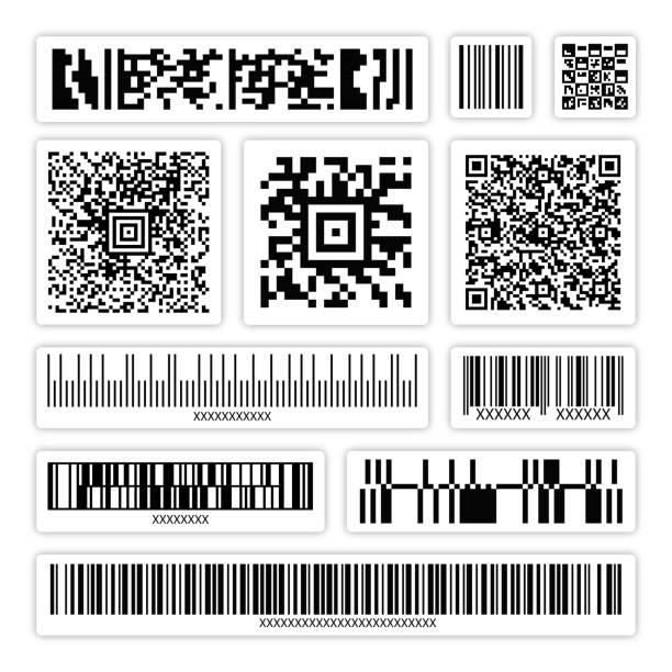 abstract bar code, qr code, packaging code stickers set vector - kod kreskowy stock illustrations