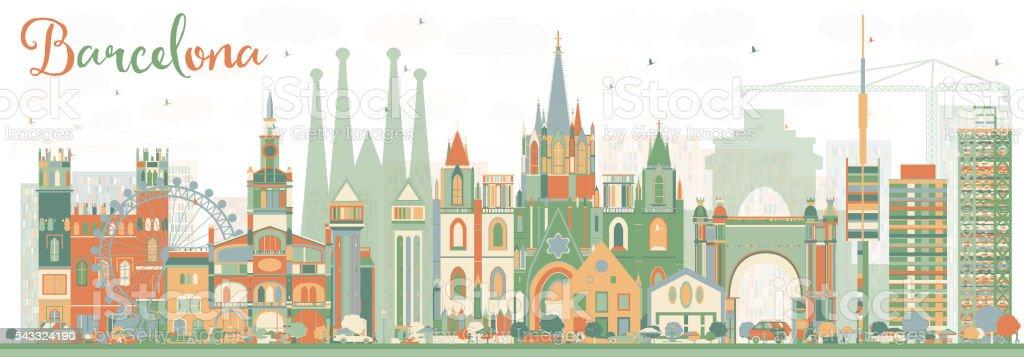 Abstract Barcelona Skyline with Color Buildings. - ilustración de arte vectorial