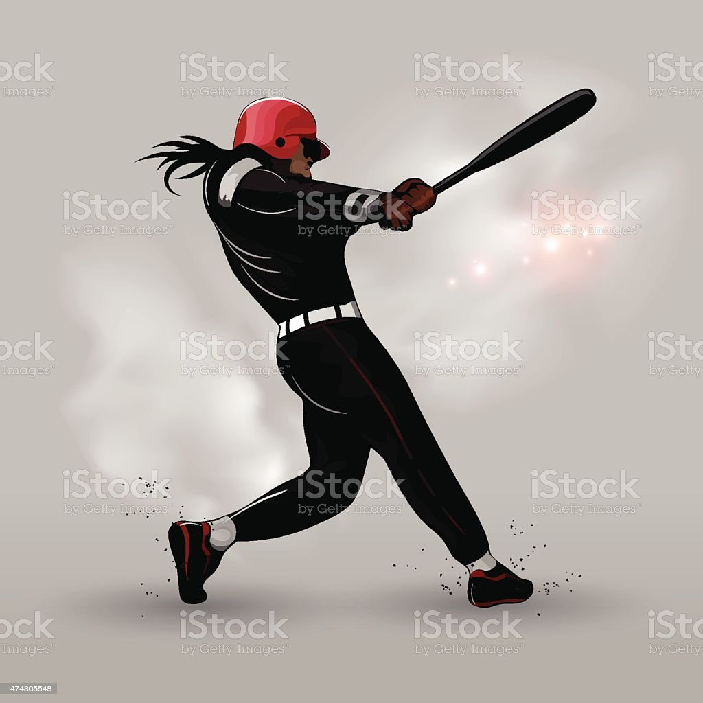 Abstract baseball hitting ball vector art illustration